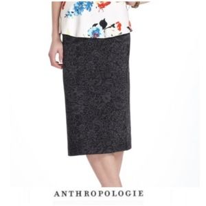 Anthropologie Bordeaux Black Lace Burnout skirt xs
